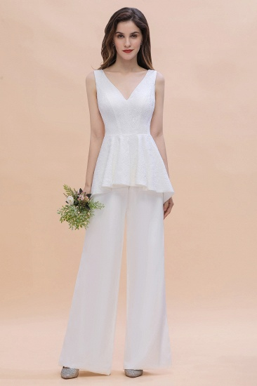 BMbridal Fashion V-Neck Lace Side Slit Bridesmaid Jumpsuits with Hollowout On Sale_6