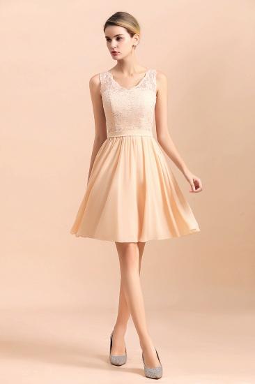 BMbridal Pretty V-Neck Chiffon Lace Short Bridesmaid Dress with Ruffles Online_5