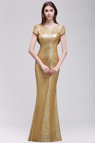 BMbridal Sparkly Sequined Jewel Sheath Prom Dress with Short Sleeves and Draped Back_2