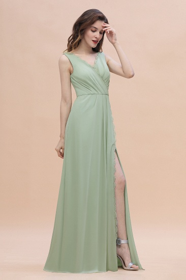 BMbridal Sexy Chiffon Ruffles Dusty Sage Bridesmaid Dress with Lace Edge On Sale_7