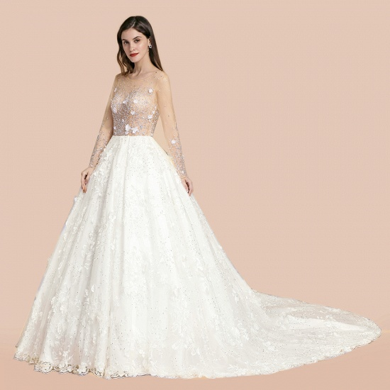 Luxury Ball Gown Tulle Lace Wedding Dress Long Sleeves Appliques Pearls Bridal Gowns with Flowers On Sale_9