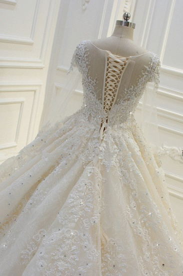BMbridal Luxury Ball Gown Jewel Tulle Wedding  Dress Long Sleeves Lace Applqiues Beadings Bridal Gowns On Sale_7