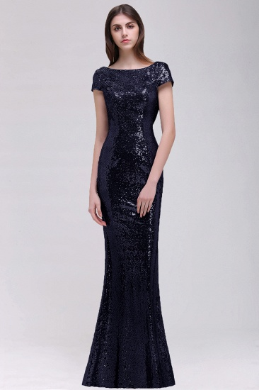 BMbridal Sparkly Sequined Jewel Sheath Prom Dress with Short Sleeves and Draped Back_4