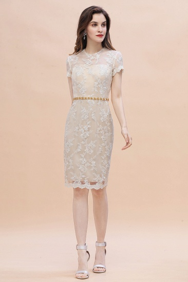 BMbridal Chic Jewel Tulle Lace Beadings Mother of Bride Dress with Short Sleeves Online_4