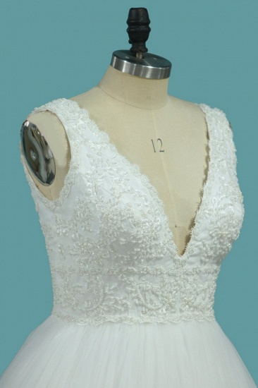 Gorgeous A-Line Tulle Wedding Dress Sleeveless Lace Pearls Bridal Gowns On Sale_4
