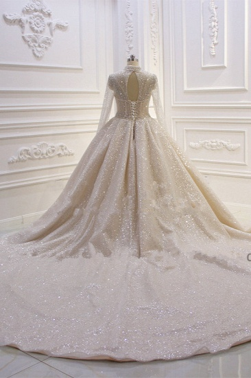 BMbridal Glamorous Ball Gown High Neck Wedding Dress Long Sleeves Sparkly Sequined Beading Bridal Gowns On Sale_5