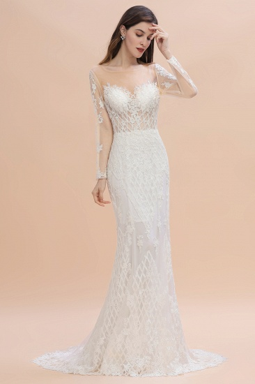 Gorgeous Jewel Tulle Lace Wedding Dress Long Sleeves Appliques Mermaid Bridal Gowns On Sale