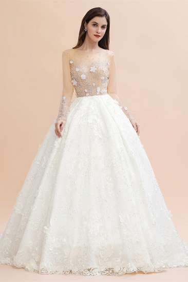 Luxury Ball Gown Tulle Lace Wedding Dress Long Sleeves Appliques Pearls Bridal Gowns with Flowers On Sale_1