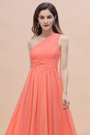 BMbridal Chic One-Shoulder Ruffles Chiffon Coral Bridesmaid Dresses On Sale_8