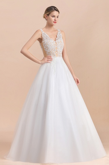 BMbridal Boho V-Neck Lace Wedding Dress Tulle Appliques Sleeveless Bridal Gowns On Sale_6
