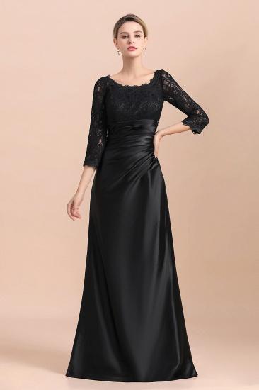 BMbridal Elegant Jewel 3/4 Sleeves Black Satin Lace Ruffles Mother of Bride Dress On Sale_9