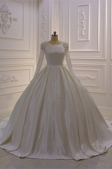 BMbridal Ball Gown Satin Long Sleeves Wedding dress Jewel Ruffles Flowers Bedaings Bridal Gowns On sale_1