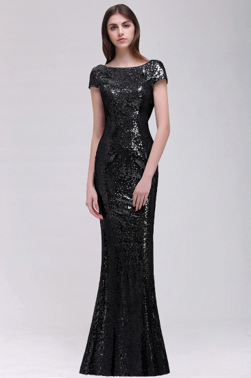 BMbridal Sparkly Sequined Jewel Sheath Prom Dress with Short Sleeves and Draped Back_5