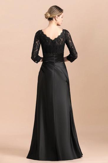 BMbridal Elegant Jewel 3/4 Sleeves Black Satin Lace Ruffles Mother of Bride Dress On Sale_3