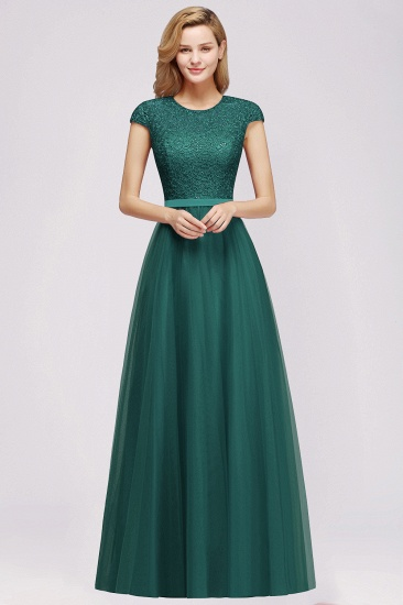 BMbridal Elegant Lace Cap-Sleeves Long Burgundy Birdesmaid Dresses Online_2