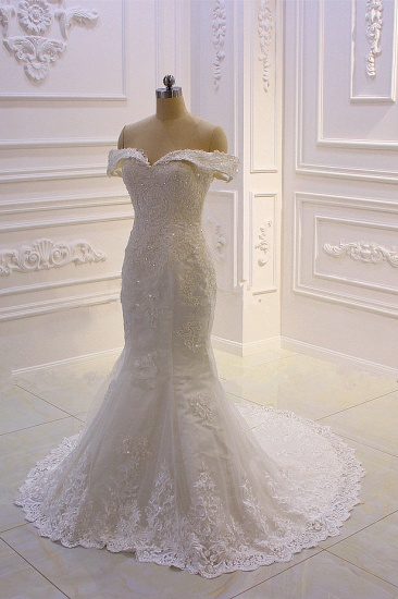 Elegant Off-the-Shoulder Tulle Wedding Dress Sweetheart Lace Appliques Bridal Gowns with Overskirt On Sale_4