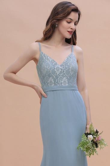 BMbridal Elegant Mermaid Chiffon Lace Dusty Blue Bridesmaid Dress with Spaghetti Straps On Sale_11