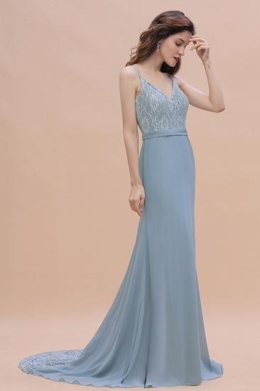 BMbridal Elegant Mermaid Chiffon Lace Dusty Blue Bridesmaid Dress with Spaghetti Straps On Sale_8