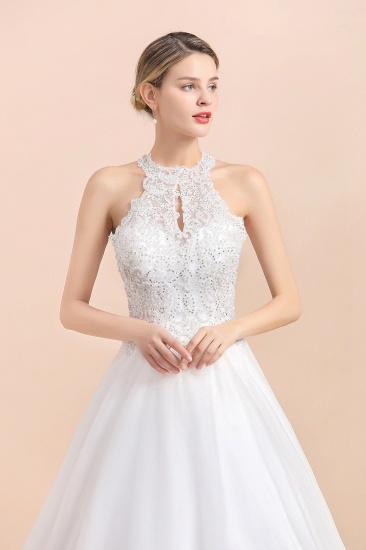 BMbridal Exquisite High-Neck Lace Wedding Dress Appliques Sequins Sleeveless Bridal Gowns On Sale_9