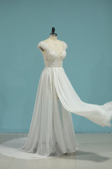Simple Chiffon Ruffles Lace Wedding Dress Appliques Cap Sleeves V-neck Beadings Bridal Gowns On Sale_4