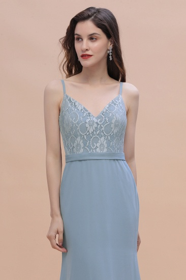 BMbridal Elegant Mermaid Chiffon Lace Dusty Blue Bridesmaid Dress with Spaghetti Straps On Sale_5