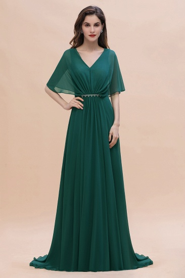 Gorgeous V-Neck Chiffon Ruffles Beading Bridesmaid Dress with Half Sleeves
