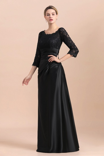 BMbridal Elegant Jewel 3/4 Sleeves Black Satin Lace Ruffles Mother of Bride Dress On Sale_8
