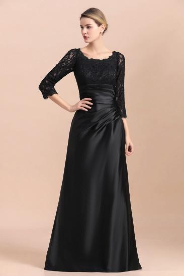 BMbridal Elegant Jewel 3/4 Sleeves Black Satin Lace Ruffles Mother of Bride Dress On Sale_5
