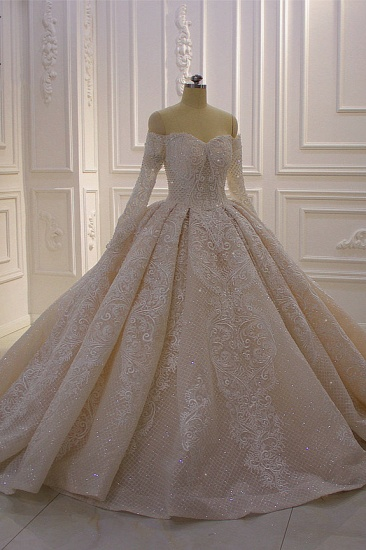 BMbridal Gorgeous Ball Gown Strapless Sequins Wedding Dress Long Sleeves Tulle Lace Bridal Gowns On Sale_4