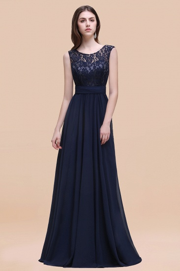 BMbridal Vintage Lace Scoop Sleeveless Dark Blue Bridesmaid Dress with V-Back