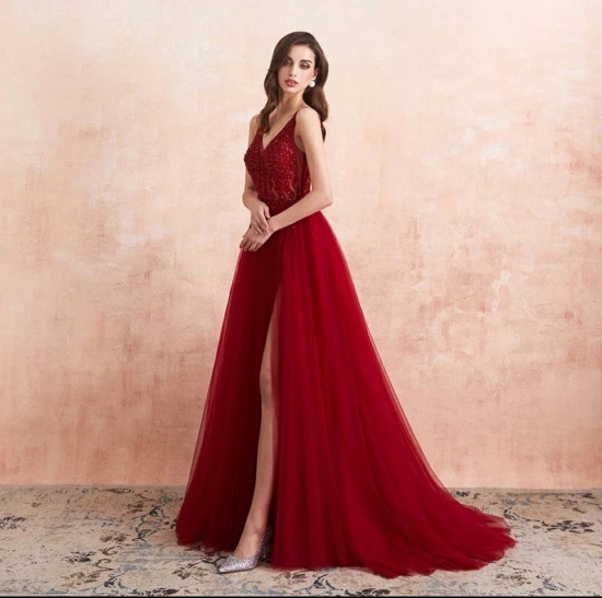 BMbridal Burgundy V-Neck Sleeveless Long Evening Dress With Split Lace Appliques_5
