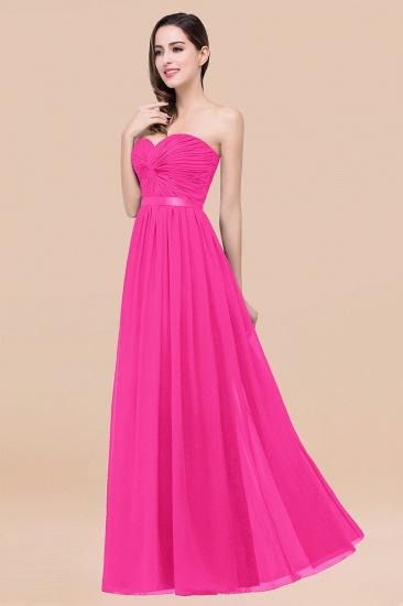 BMbridal Affordable Sweetheart Ruffle Navy Chiffon Bridesmaid Dress With Ribbon_9