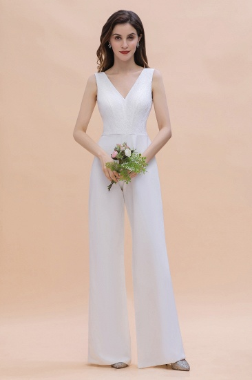 Stylish V-neck Sleeveless White Lace Bridesmaid Jumpsuit Online