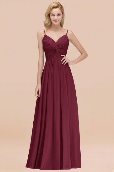 BMbridal Chic V-Neck Pleated Backless Bridesmaid Dresses with Spaghetti Straps_10