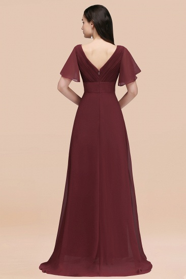 BMbridal Affordable V-Neck Ruffle Long Burgundy Bridesmaid Dress With Short-Sleeves_52