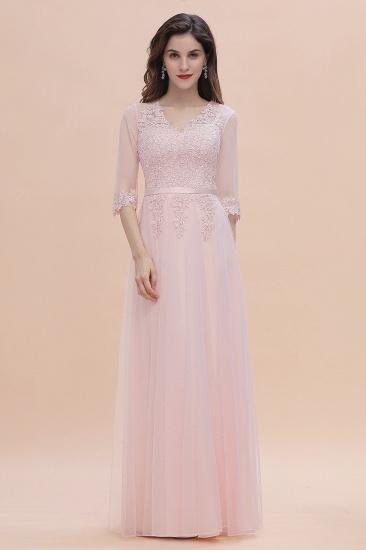BMbridal Elegant V-neck Half Sleeves Lace Pink Bridesmaid Dress On Sale_5