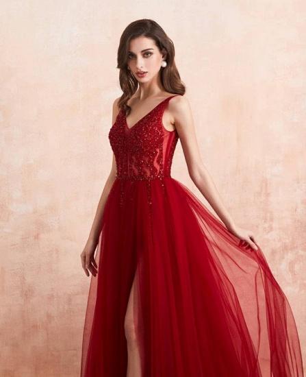 BMbridal Burgundy V-Neck Sleeveless Long Evening Dress With Split Lace Appliques_6