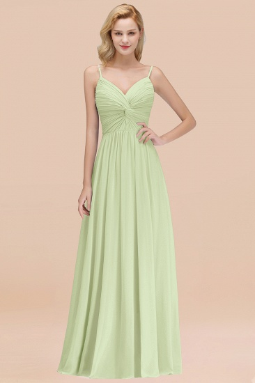 BMbridal Chic V-Neck Pleated Backless Bridesmaid Dresses with Spaghetti Straps_35