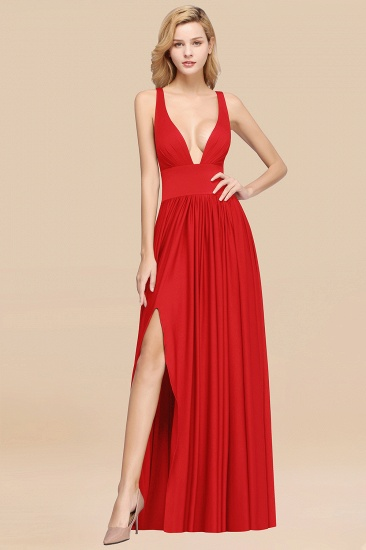 BMbridal Sexy Deep V-Neck Sleeveless Bridesmaid Dress Burgundy Chiffon Wedding Party Dress_7