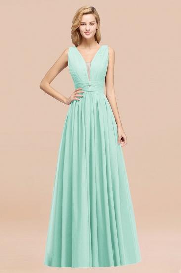 BMbridal Modest Dark Green Long Bridesmaid Dress Deep V-Neck Chiffon Maid of Honor Dress_36