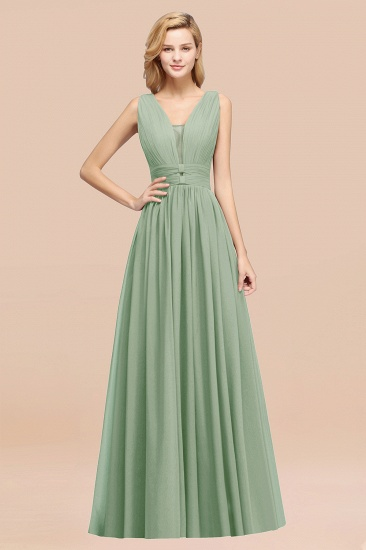 BMbridal Modest Dark Green Long Bridesmaid Dress Deep V-Neck Chiffon Maid of Honor Dress_41