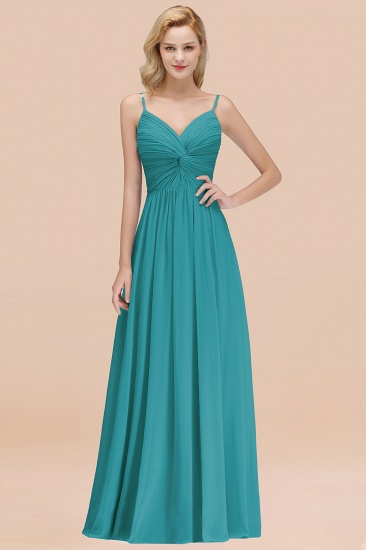 BMbridal Chic V-Neck Pleated Backless Bridesmaid Dresses with Spaghetti Straps_32
