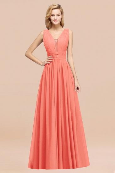 BMbridal Modest Dark Green Long Bridesmaid Dress Deep V-Neck Chiffon Maid of Honor Dress_45