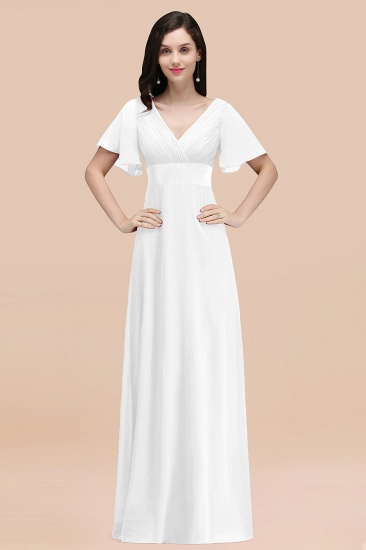 BMbridal Affordable V-Neck Ruffle Long Burgundy Bridesmaid Dress With Short-Sleeves_1