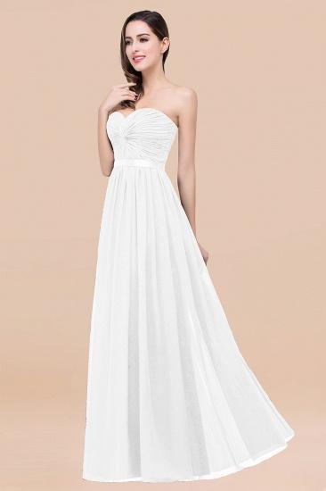 BMbridal Affordable Sweetheart Ruffle Navy Chiffon Bridesmaid Dress With Ribbon_1
