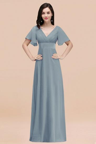 BMbridal Affordable V-Neck Ruffle Long Burgundy Bridesmaid Dress With Short-Sleeves_40