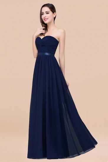 BMbridal Affordable Sweetheart Ruffle Navy Chiffon Bridesmaid Dress With Ribbon_28