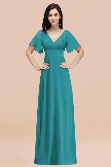 BMbridal Affordable V-Neck Ruffle Long Burgundy Bridesmaid Dress With Short-Sleeves_32