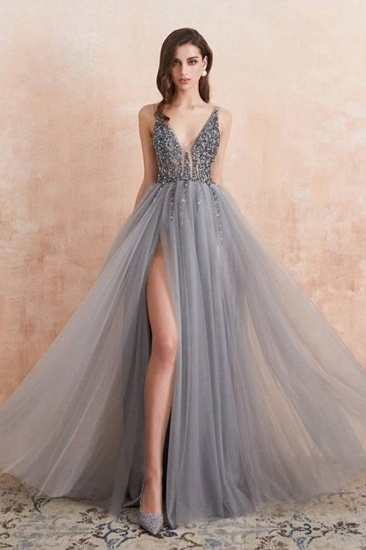 BMbridal Charming V-Neck Tulle Prom Dress Long Evening Party Gowns With Lace Appliques