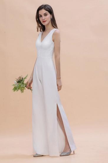 BMbridal Stylish V-neck Sleeveless White Lace Bridesmaid Jumpsuit Online_6